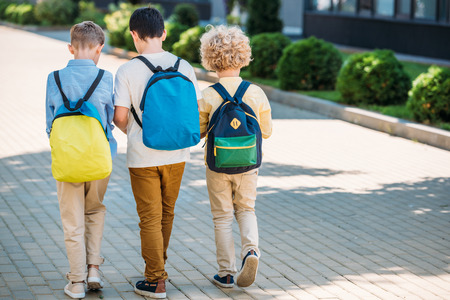 rear view of schoolchboys with backpacks walking together