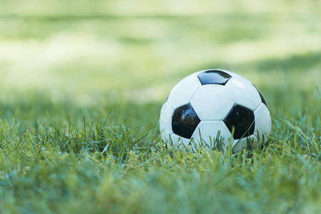 close-up view of leather soccer ball on green grass 版權商用圖片