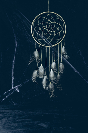 gothic dreamcatcher with feathers in darkness with spider web for halloween Stock Photo