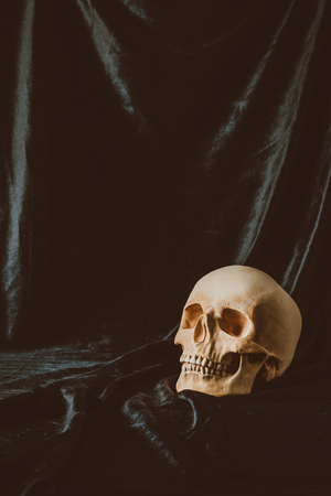 scary skull on black cloth with spider web for halloween Stock Photo