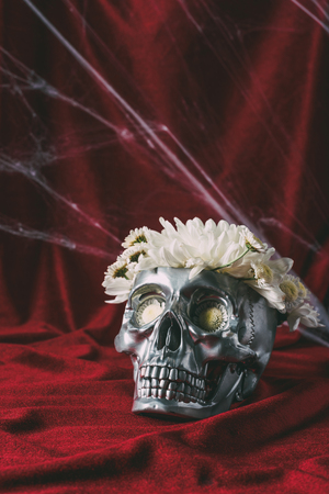 halloween silver skull with flowers on red cloth with spider web Фото со стока