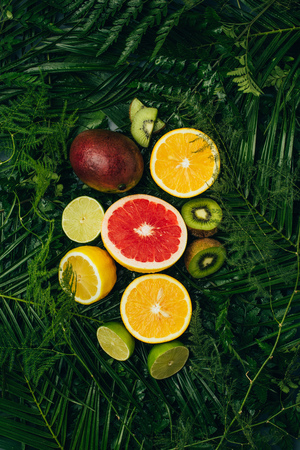 top view of juicy fruits on green palm leaves 写真素材