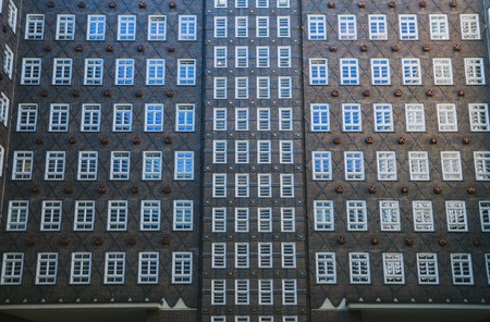 HAMBURG, GERMANY - 28 JUNE 2018: full frame image of building in Hamburg, Germany