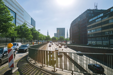 HAMBURG, GERMANY - 28 JUNE 2018: many cars on road in city in hamburg, Germany