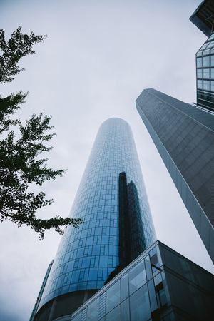FRANKFURT, GERMANY - 28 JUNE 2018: low angle view of skyscrapers in Frankfurt, Germany Editorial