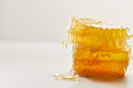 close up view of natural beeswax on white background Banco de Imagens