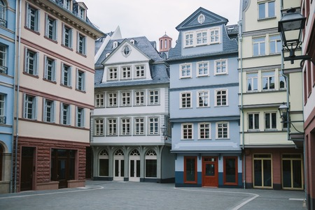beautiful buildings at city street in Frankfurt, Germany