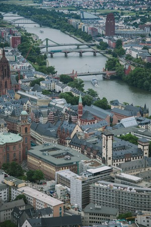 aerial view of buildings near Main river in Frankfurt, Germany