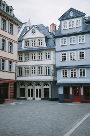 colorful buildings at city street in Frankfurt, Germany Stock Photo