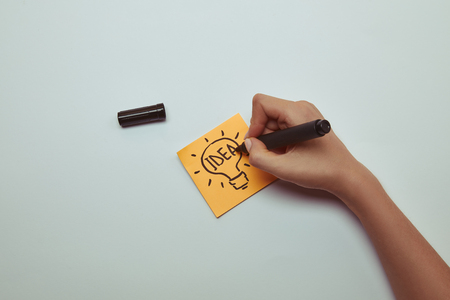 cropped image of woman drawing word idea in lightbulb on paper sticker Stockfoto