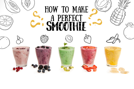 Close-up view of fresh fruit smoothies in glass cups isolated on white, with how to make a perfect smoothie lettering with illustration Banco de Imagens