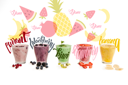 Close-up view of glasses with fresh smoothies made of currant, blackberry, kiwi, strawberry, banana,  isolated on white with illustrations Stok Fotoğraf