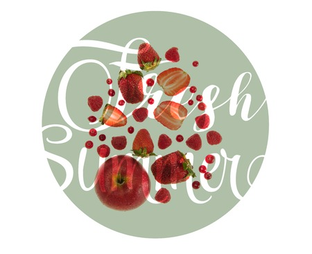 different organic red fruits and berries isolated on white with fresh summer lettering