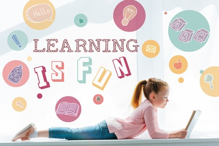 cute little schoolgirl reading book and lying on windowsill with icons and learning is fun lettering