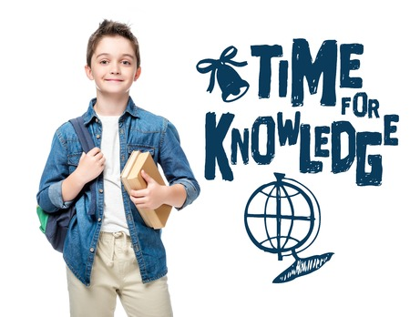 schoolboy holding backpack and books isolated on white, with globe and time to knowledge lettering