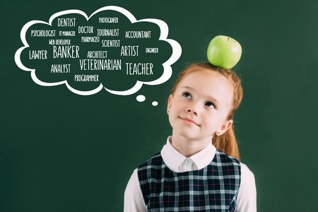 pensive little red haired schoolgirl with apple on head standing near chalkboard with words of different professions in speech bubble