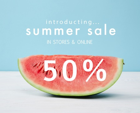 fresh watermelon slice with summer sale and 50 discount symbol
