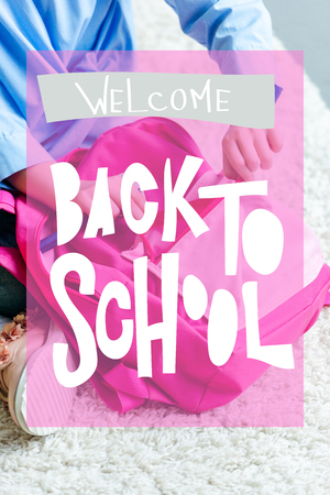 cropped shot of child packing pink school bag at home, welcome back to school concept