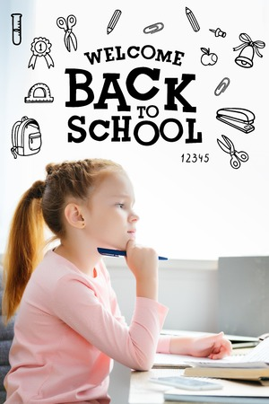 side view of thoughtful schoolgirl holding pen and looking away while studying at home, icons and back to school lettering Фото со стока