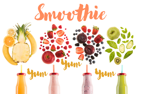 different healthy smoothies in bottles with fresh ingredients isolated on white, with yum smoothie lettering Imagens