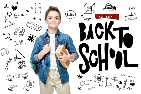 schoolboy holding backpack and books isolated on white, with icons and welcome back to school lettering