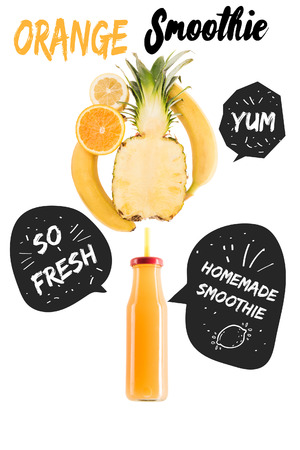 yellow healthy smoothie fruits in glass bottle isolated on white, with homemade smoothie and so fresh inspirations in speech bubbles