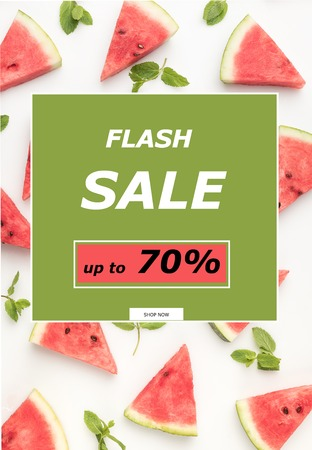 top view of watermelon slices and mint leaves isolated on white with flash sale sign