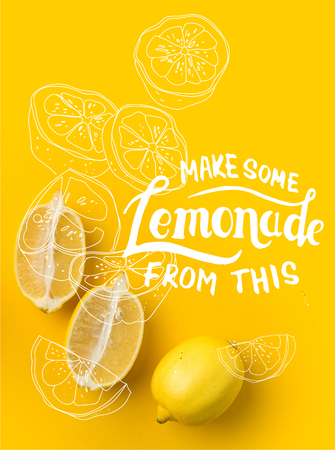 Two halves of lemon and single lemon isolated on yellow with Make some Lemonade from this lettering and illustration