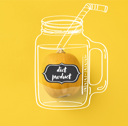 One ripe pumpkin isolated on yellow with diet product lettering on illustration of drinking jar with straw 스톡 콘텐츠