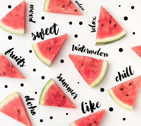 top view of fresh watermelon slices isolated on white background, with different inspection words
