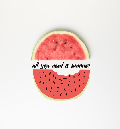top view of watermelon slice isolated on white, with all you need is summer lettering and illustration