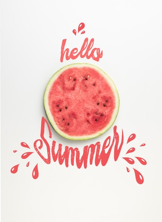 top view of fresh watermelon slice isolated on white, hello summer lettering with drops