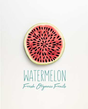 top view of fresh watermelon slice with seeds illustration and watermelon fresh organic fruits lettering