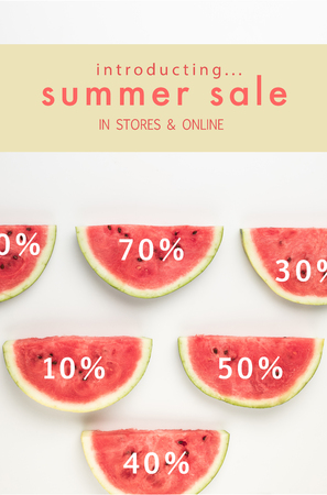 top view of watermelon slices with discount percents and summer sale lettering