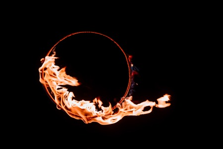 close up view of burning circle figure isolated on black Stok Fotoğraf