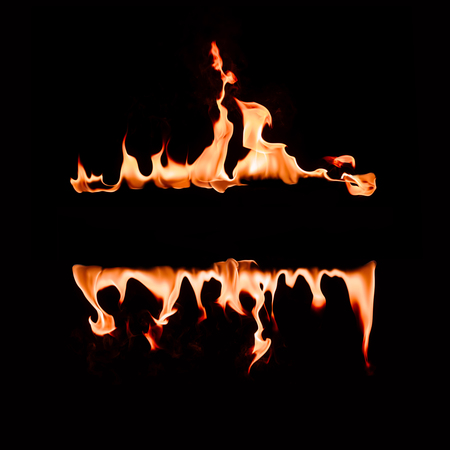 close up view of burning flame lines on black background