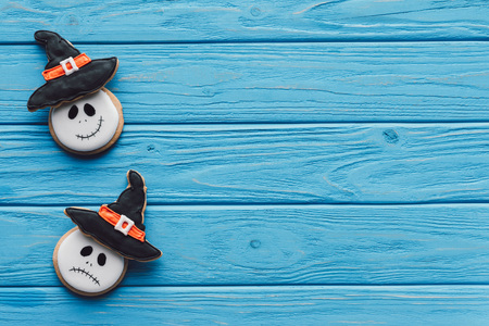 elevated view of delicious homemade halloween cookies on wooden background Stock Photo