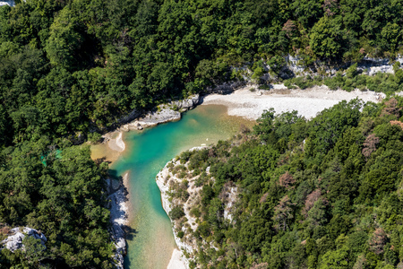 aerial view of beautiful turquoise verdon river in provence, france Banco de Imagens