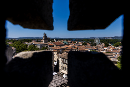 selective focus of beautiful architecture and panoramic Avignon cityscape, provence, france