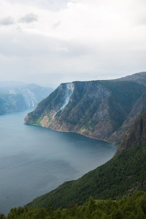 beautiful landscape with sea and Aurlandsfjord from Stegastein viewpoint, Aurland, Norway Stock Photo