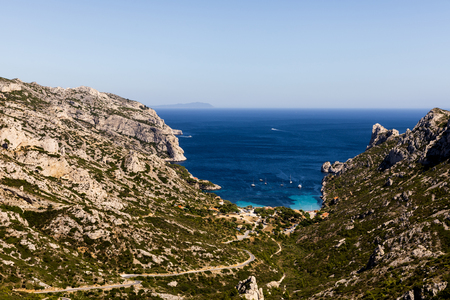 beautiful rocky mountains and tranquil sea view in Calanques de Marseille (Massif des Calanques), provence, france Stok Fotoğraf