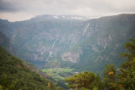 view to Aurlandsfjord from Stegastein viewpoint, Aurland, Norway