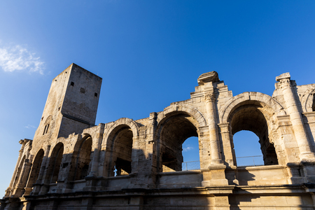 low angle view of beautiful famous ancient Arles Amphitheatre, provence, france Reklamní fotografie
