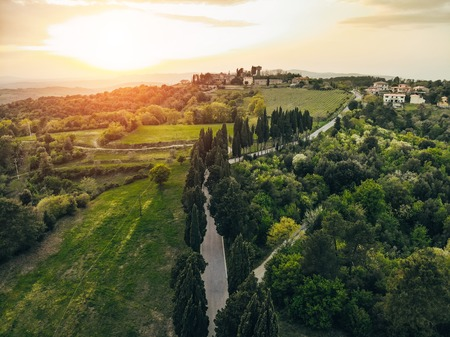 aerial view of road and village during sunset, arezzo province, Italy Stock fotó