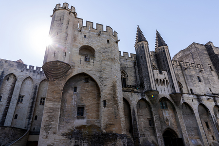 low angle view of beautiful famous Palais des Papes (Papal palace) in Avignon, France Stock Photo