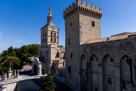 beautiful architecture of famous Palais des Papes (Papal palace) in Avignon, France Stock Photo