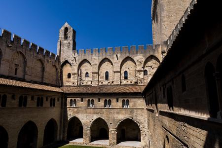 ancient architecture of famous Palais des Papes (Papal palace) in Avignon, France