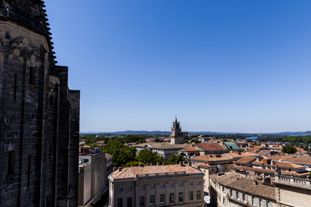 historic houses and panoramic Avignon cityscape, provence, france