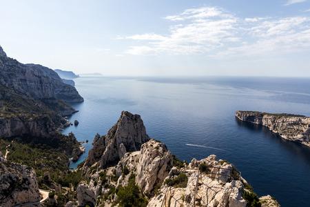 majestic landscape with calm sea and cliffs in Calanque de Sugiton, Marseille, France Stok Fotoğraf