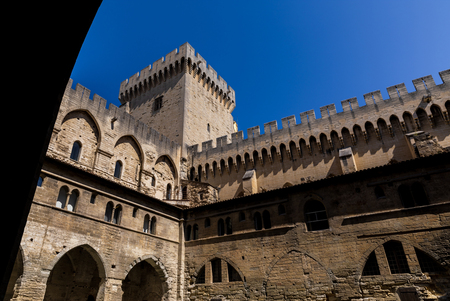 low angle view of historical Palais des Papes (Papal palace) in Avignon, France Stock Photo